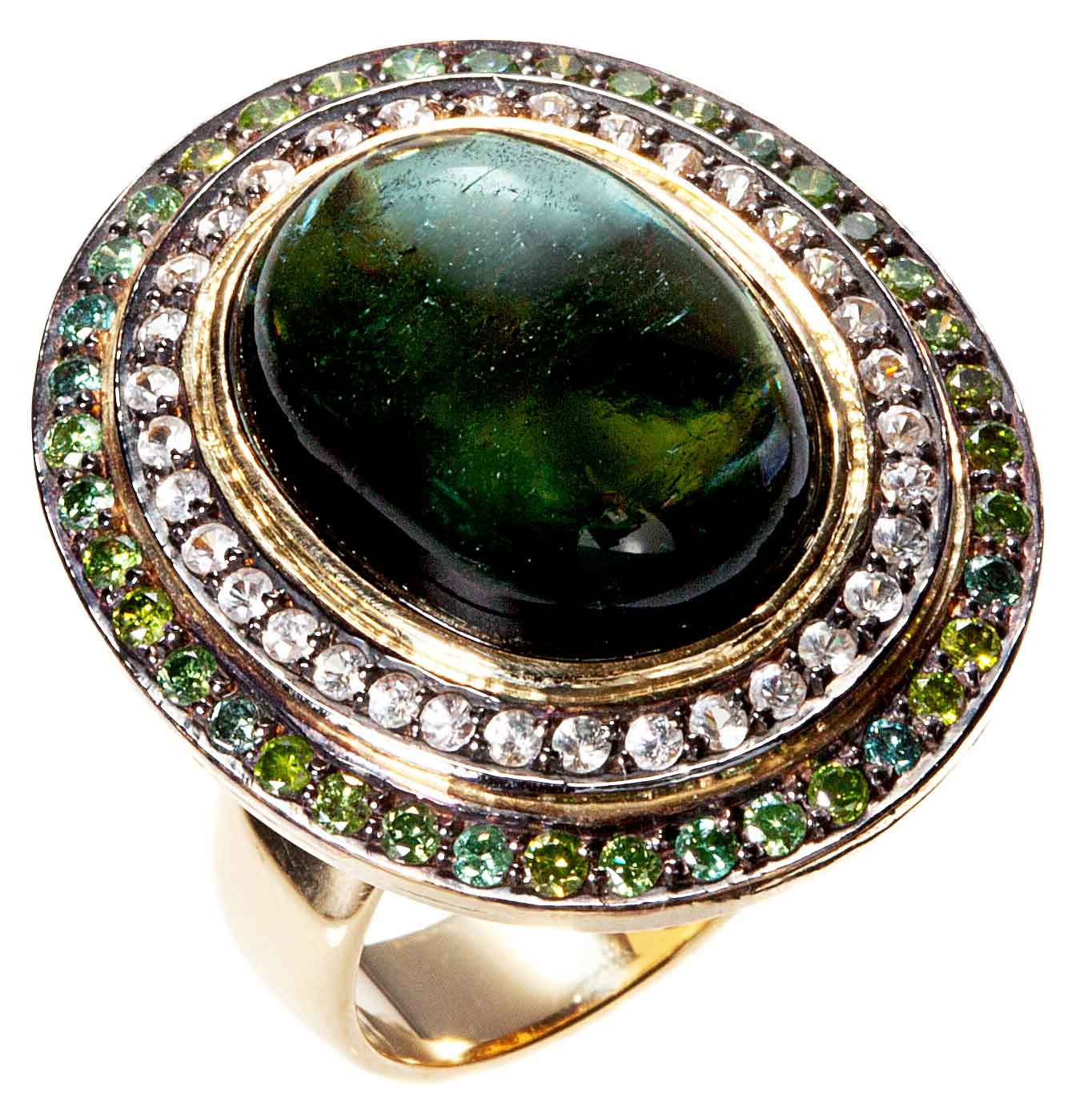 Green Goddess Ring with Diamonds