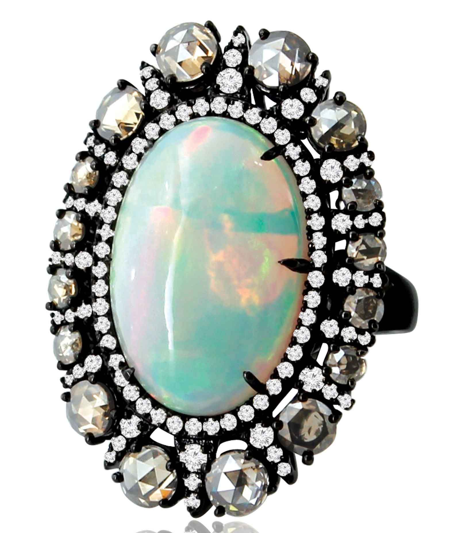 Black Gold Ring with Opal and Diamonds