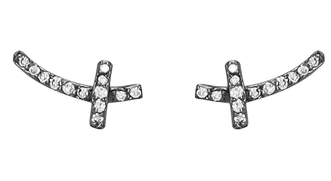 Tiny inverted cross earrings in black rhodium