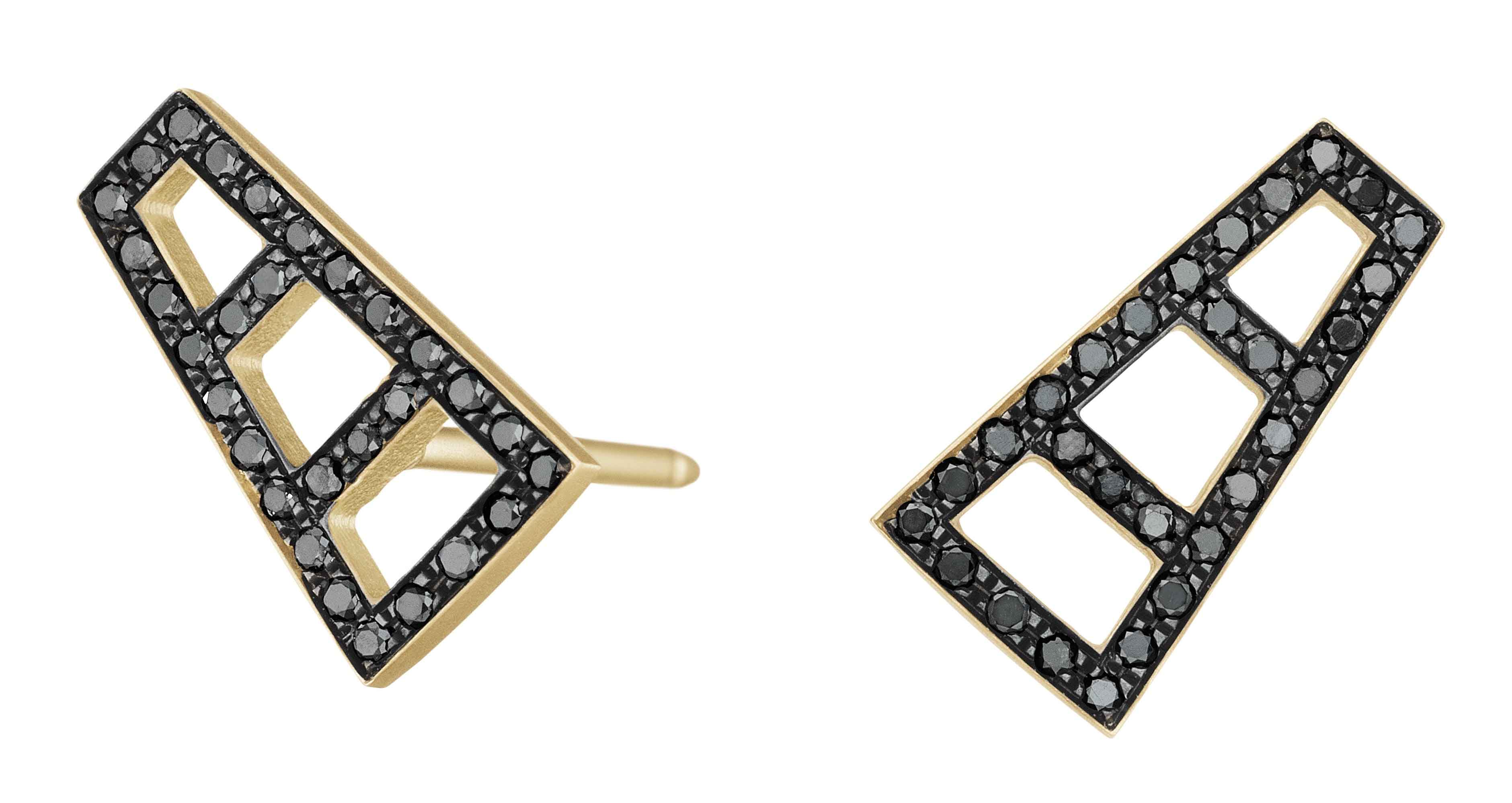 Petite Ladder stud earrings in 18k yellow gold and black rhodium