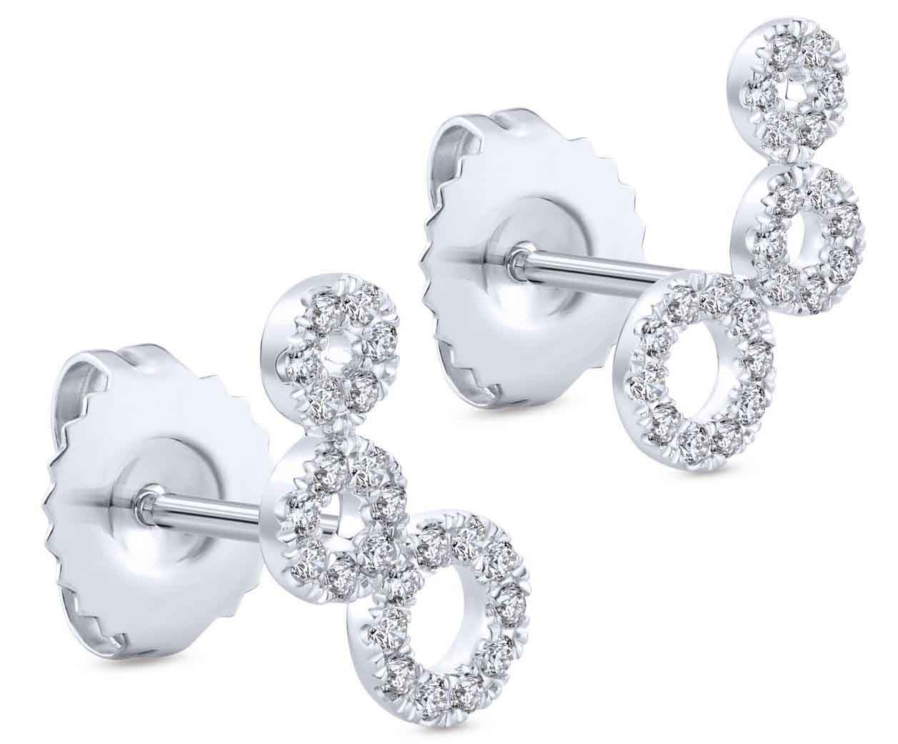 Comets stud earrings in 14k white gold with diamonds
