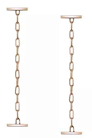 Bar and Chain earrings in 14k rose gold