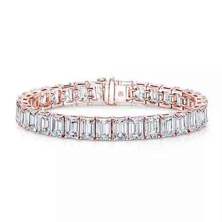Emerald-cut tennis bracelet in 18k rose gold