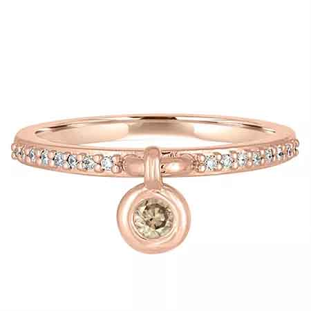 Elements Bouncing Bezel Charm ring in 14k rose gold