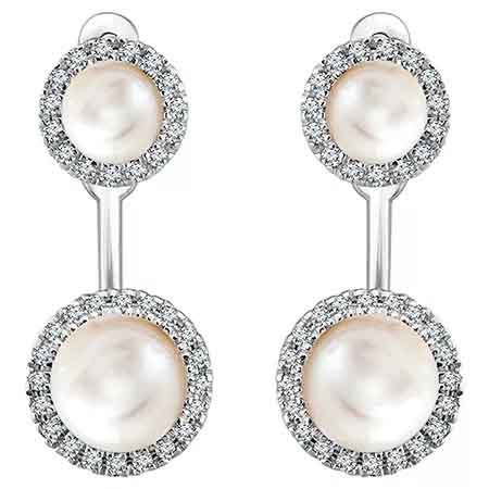 Halo-style studs and earring jackets in 14k white gold with freshwater pearls