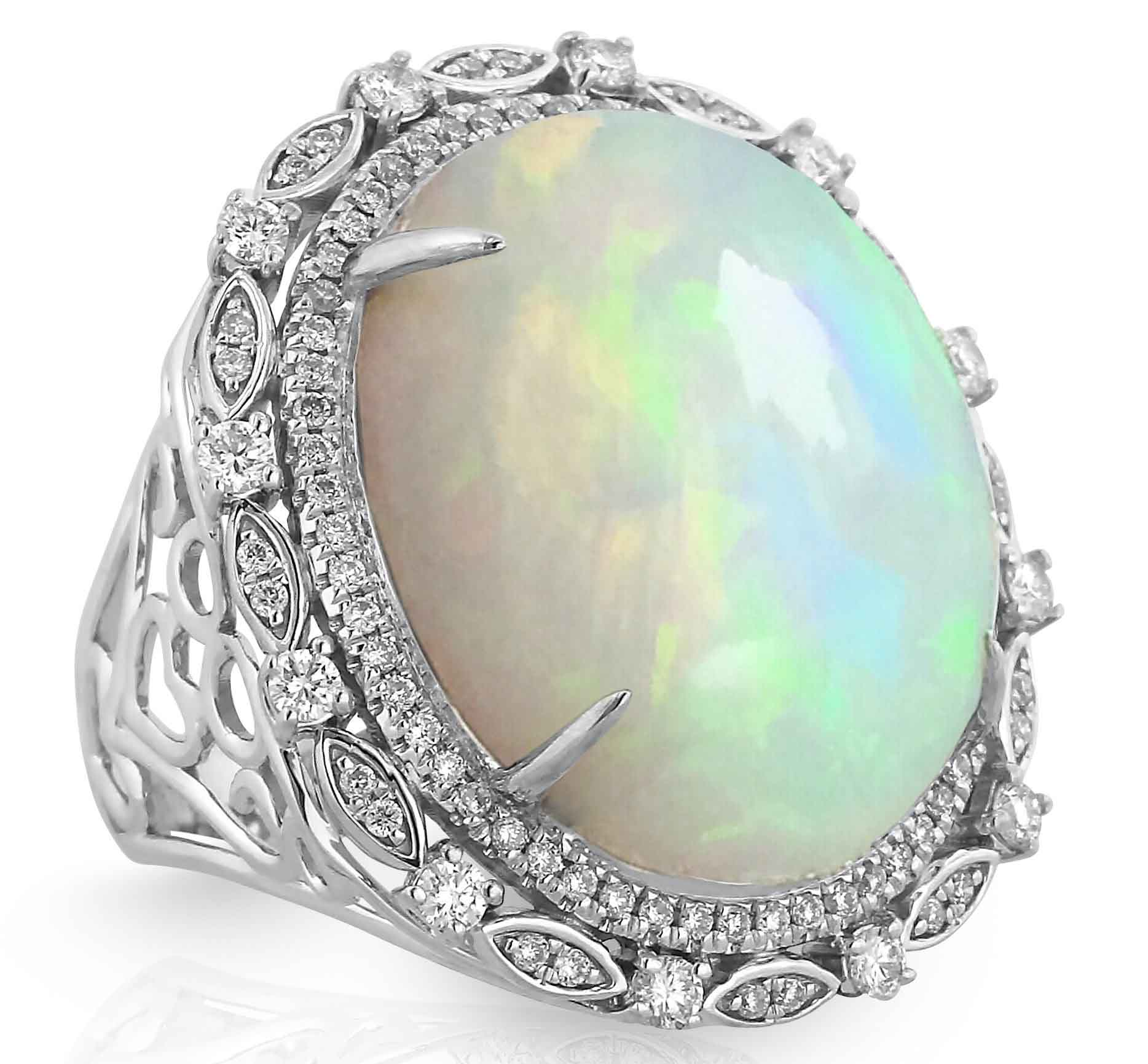 Cocktail White Gold Ring with Opal