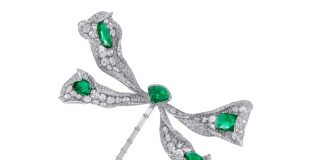 Dragonfly brooch in 18-karat white gold embellished with emeralds and diamonds
