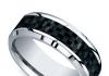 beveled carbon fiber inlay mens band cobalt