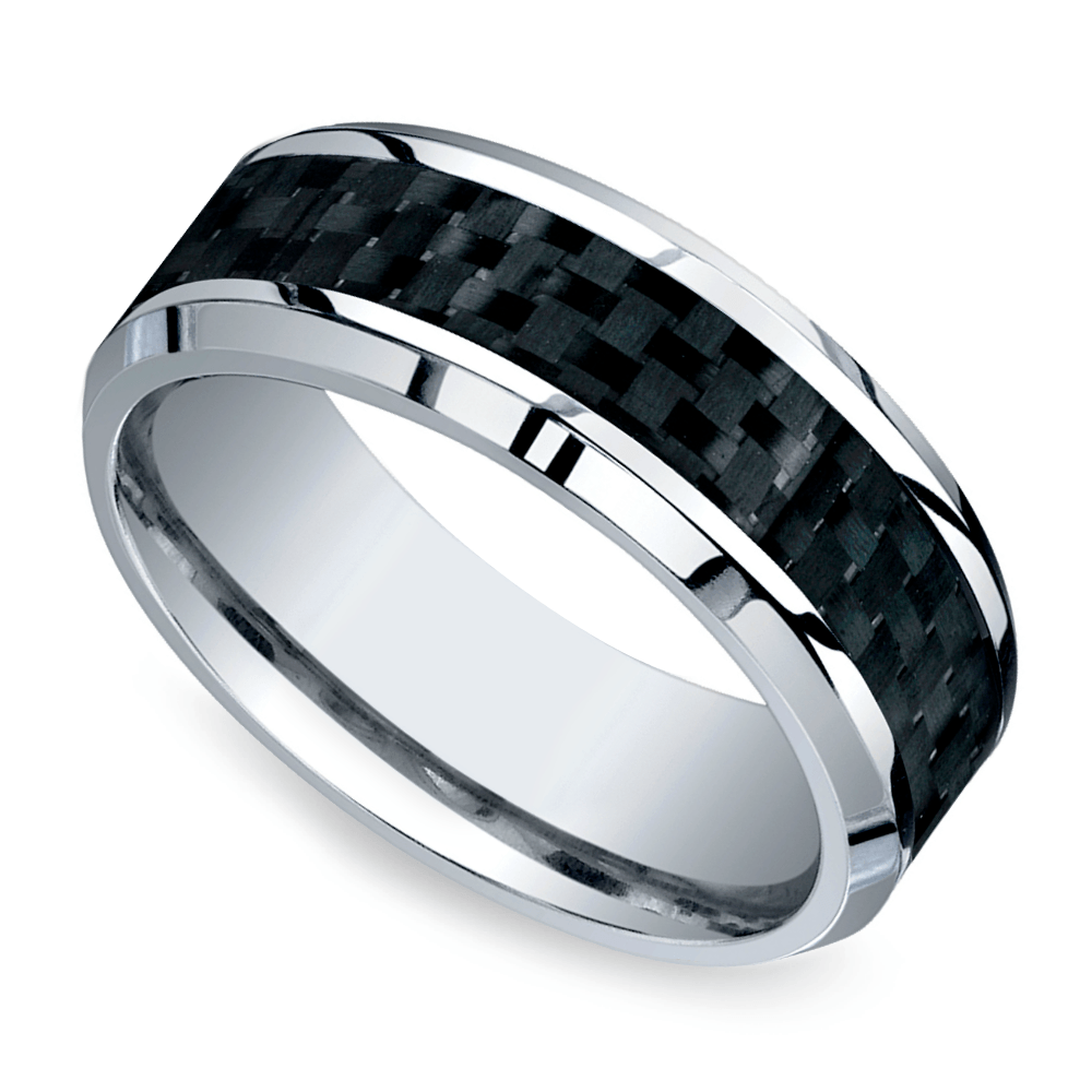 beveled carbon fiber inlay mens band cobalt