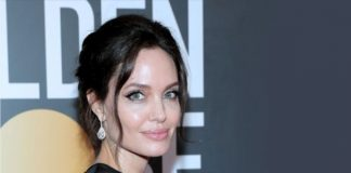 Angelina Jolie in Forevermark Diamondsa t the 75th-Annual Golden Globe Awards Close Up
