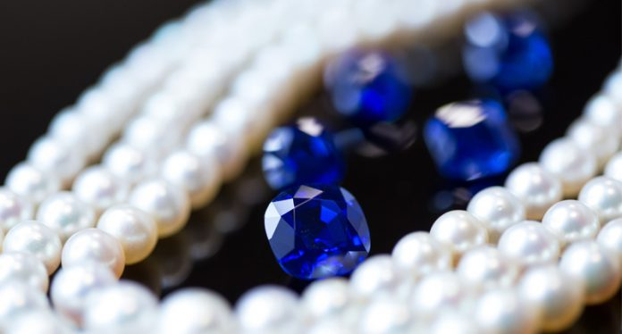 Kashmir sapphires and natural pearls