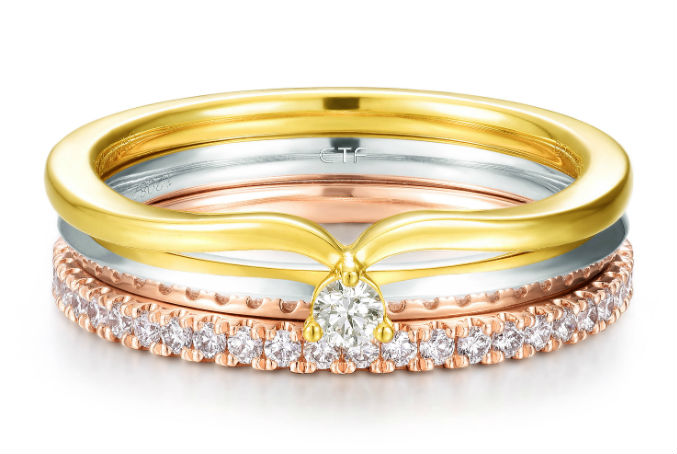 Tri colourgold ring with diamonds by Hong Kong jeweller Chow Tai Fook