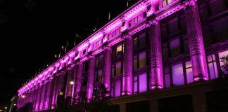 Elizabeth Hurley Lights Selfridges Pink for Breast Cancer Awareness Left