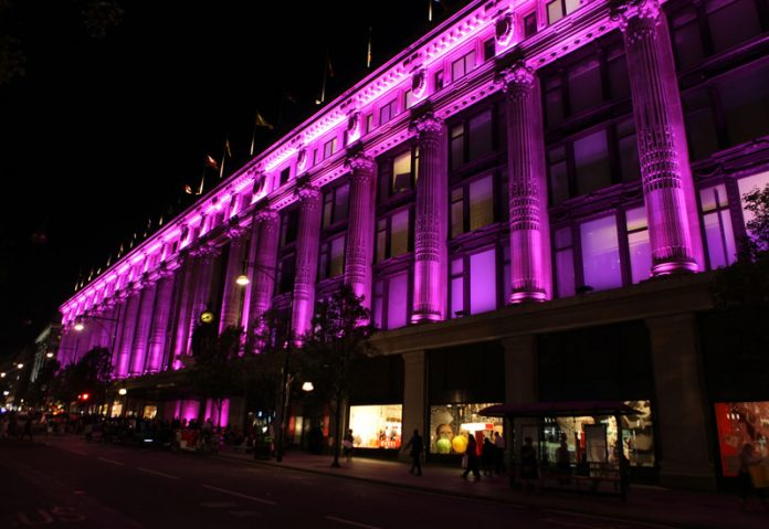 Elizabeth Hurley Lights Selfridges Pink for Breast Cancer Awareness Left