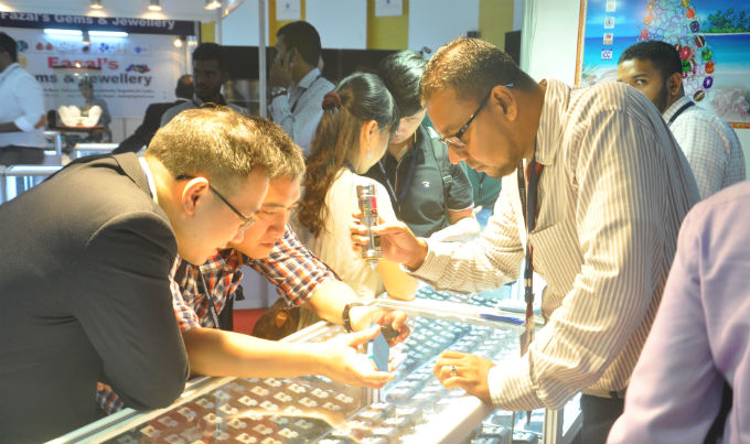 Buyers inspecting goods at a previous edition of FACETS Sri Lanka