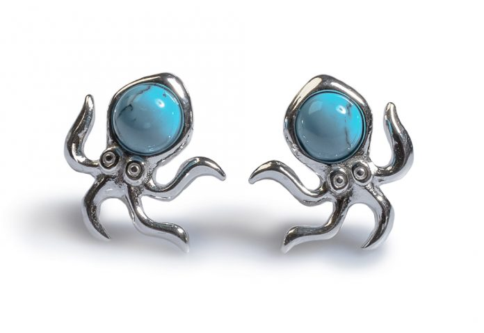 Henryka-Octopus-stud-earrings-with-turquoise-gems-World-Oceans-Day-2018