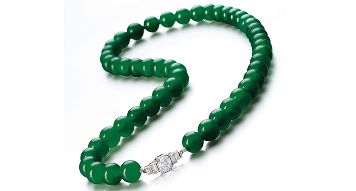 jadeite beads of a brilliant emerald green color