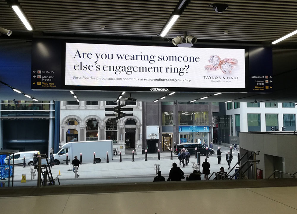 "Bespoke jeweller boldly asks commuters: ""Are you wearing someone else's engagement ring?"""