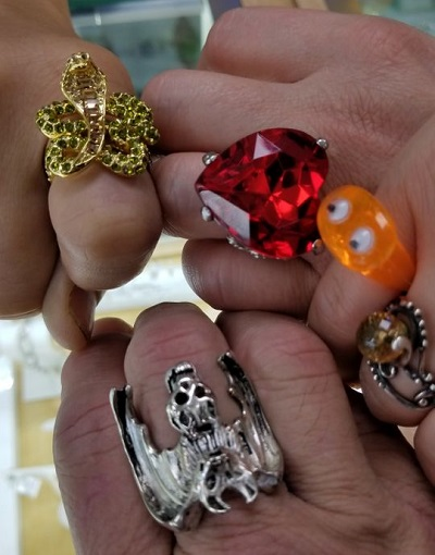 One woman displayed her assortment of unusual rings