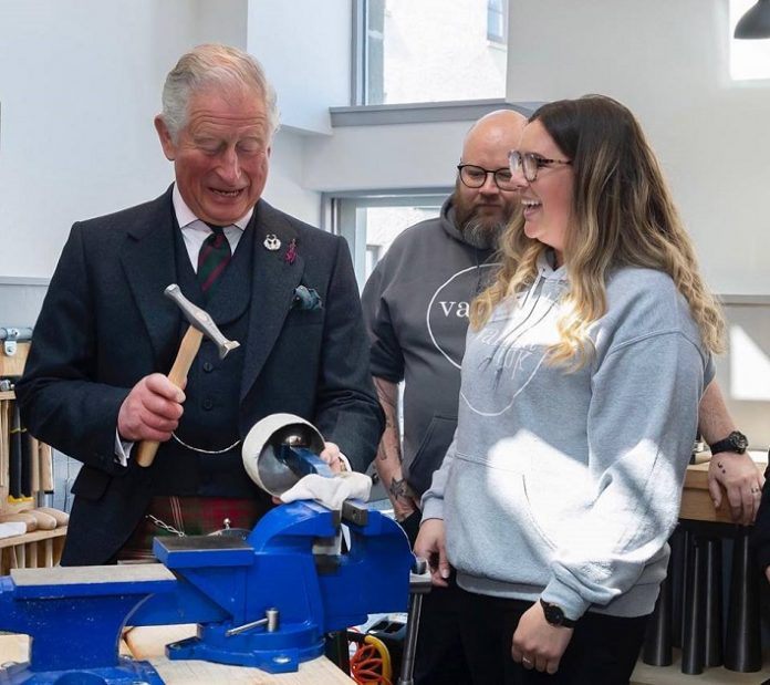 Prince Charles tries his hand as a jeweller during royal visit to Scotland