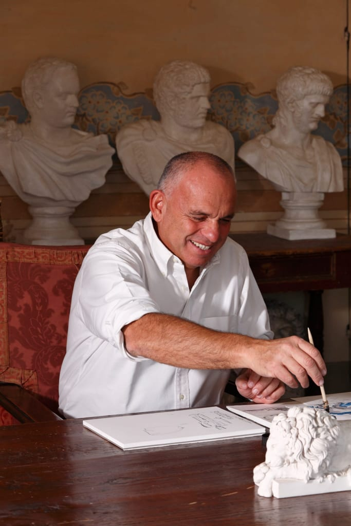 Namesake Brand Founder Giovanni Raspini Sketching New Designs.