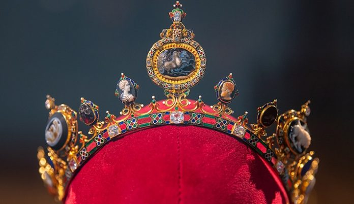 This diadem is one of seven pieces in a parure, a set of jewels designed to be worn together, created in 1856 to celebrate the coronation of Tsar Alexander II. The parure is on display now through Sept. 13 at Sotheby's New York.