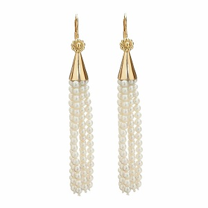 Pearl and Yellow Gold Tassel Earrings by Christina Malle