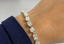 Emerald Cut & Round Diamond Tennis Bracelet (17.90 ct Diamonds) in Platinum