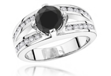 BLACK DIAMOND ENGAGEMENT RING 2.70CT 14K GOLD RINGS