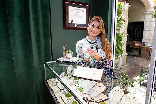 Karina Brez, with her jewelry in her Palm Beach, FL store. Image by Sergio Aguilar